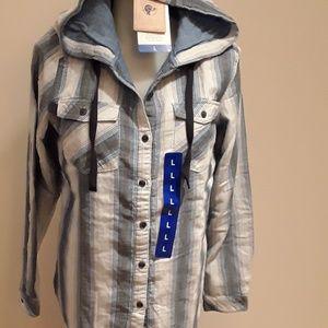 🎁NWT Boston Trader Button up w/ tie string hoodie